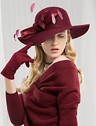 Недорогие -100% шерсть Кентукки дерби шляпа / Головные уборы с Пух / Атласный бант 1шт Повседневные / На каждый день Заставка