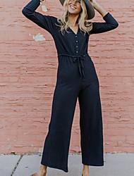 저렴한 -여성용 일상 / 데이트 스트리트 쉬크 V 넥 푸른 와이드 레그 점프 수트, 솔리드 드로스트링 M L XL 긴 소매 가을 겨울