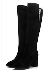 billiga -sw 5050 kvinnors nappa läderstövlar chunky heel closed toe knee high boots black / gray
