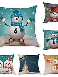 Недорогие -6 штук Лён Натуральный Наволочки, Животное Классика Рождество Художественный Рождество