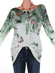 baratos -t-shirt feminina de algodão plus size - gola redonda geométrica