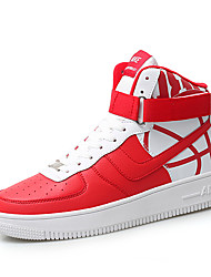 abordables -Homme Chaussures de confort Cuir Nappa Hiver Sportif / Décontracté Basket Augmenter la hauteur Bloc de Couleur Blanc / Noir / Rouge