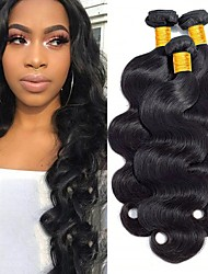 cheap -3 Bundles Body Wave 8A Human Hair Unprocessed Human Hair Headpiece Natural Color Hair Weaves / Hair Bulk Hair Care 8-28 inch Natural Color Human Hair Weaves Soft Wedding For Black Women Human Hair
