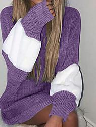 Недорогие -Жен. Повседневные На каждый день / Классический / Вязаная одежда В полоску / негабаритный Контрастных цветов Длинный рукав Обычный Пуловер Серый / Лиловый / Хаки M / L / XL