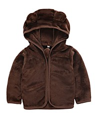 preiswerte -Kinder / Baby Jungen Aktiv / Grundlegend Alltag Solide Langarm Standard Polyester Jacke & Mantel Braun