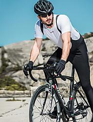Недорогие -SANTIC Муж. Велокомбинезоны Велоспорт Биб Колготки С защитой от ветра, Дышащий, Сохраняет тепло Однотонный Эластан Зима Черный Средний уровень Горные велосипеды Свободное облегание / Эластичная