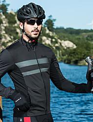 Недорогие -SANTIC Муж. Велокуртки Велоспорт Верхняя часть Дышащий, Сохраняет тепло Однотонный Эластан Черный Одежда для велоспорта / Эластичная