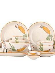 Недорогие -1 комплект Обеденные тарелки Столовые наборы Стеклянная посуда посуда Фарфор Керамика Очаровательный Heatproof Новый дизайн