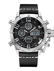 Недорогие -Муж. Спортивные часы электронные часы Японский Цифровой Натуральная кожа Черный / Красный 30 m Защита от влаги Календарь Секундомер Аналого-цифровые Мода - Черный / Красный Черный / Серебристый