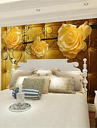 baratos -papel de parede / Mural Tela de pintura Revestimento de paredes - adesivo necessário Floral / Art Deco / 3D