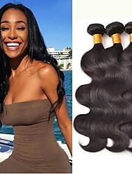 ieftine -3 pachete Păr Brazilian Stil Ondulat 8A Păr Natural Accesoriu de Păr Umane tesaturi de par Atribut Îngrijire Păr 8-28 inch Natural Culoare naturală Umane Țesăturile de par Mătăsos Lin cald Vânzare