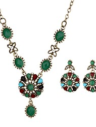 Недорогие -Жен. Комплект ювелирных изделий - Винтаж Включают Винтажное ожерелье Черный / Зеленый Назначение Повседневные
