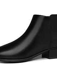 billige -Dame Fashion Boots PU Høst vinter Støvler Blokker hælen Rund Tå Ankelstøvler Svart / kaffe