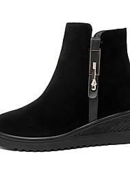 저렴한 -여성용 구두 스웨이드 가을 겨울 부츠 낮은 굽 둥근 발가락 부티 / 앵클 부츠 일상 / 사무실 및 경력 용 블랙