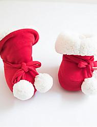 Недорогие -Девочки Обувь Хлопок Зима Обувь для малышей / Меховая подкладка Ботинки Бант для Дети Красный