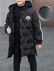 Недорогие -Дети Мальчики Классический Повседневные Однотонный Длинный рукав Обычная Хлопок / Полиэстер На пуховой / хлопковой подкладке Черный 140
