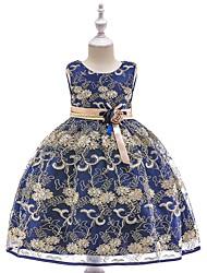 billige -Prinsesse Te-længde Blomsterpigekjole - Blondelukning / Tyl Uden ærmer Høj halset med Broderi / Bælte ved