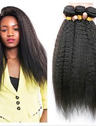 Недорогие -4 Связки Бразильские волосы Естественные прямые 8A Натуральные волосы Головные уборы Удлинитель Пучок волос 8-28 дюймовый Нейтральный Естественный цвет Ткет человеческих волос