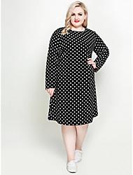 hesapli -Kadın's Büyük Bedenler Vintage Temel Salaş Kombinezon Kılıf Tişört Elbise - Yuvarlak Noktalı Midi Siyah ve Beyaz