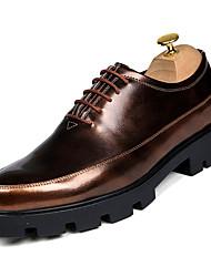abordables -Homme Chaussures de confort Polyuréthane Automne Décontracté Oxfords Augmenter la hauteur Noir / Argent / Rouge