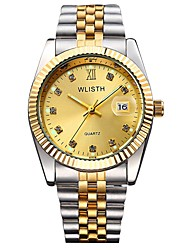 Недорогие -Для пары Наручные часы Японский Кварцевый Нержавеющая сталь Серебристый металл / Золотистый 30 m Защита от влаги Календарь Секундомер Аналоговый Блестящие Мода -  / Два года / Светящийся / Два года