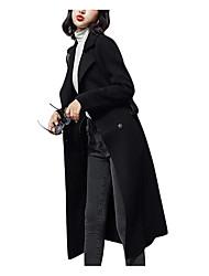 Недорогие -Жен. Повседневные Зима Длинная Пальто, Однотонный Приподнятый круглый Длинный рукав Шерсть Черный M / L / XL