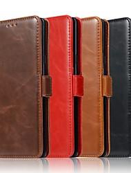 Недорогие -Кейс для Назначение SSamsung Galaxy Note 9 / Note 8 Кошелек / Бумажник для карт / со стендом Чехол Однотонный Твердый Настоящая кожа для Note 9 / Note 8 / Note 5