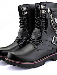 Недорогие -Муж. Fashion Boots Синтетика Зима На каждый день / Английский Ботинки Сохраняет тепло Сапоги до середины икры Черный