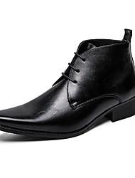 Недорогие -Муж. Кожаные ботинки Кожа Зима На каждый день Туфли на шнуровке Доказательство износа Черный / Коричневый