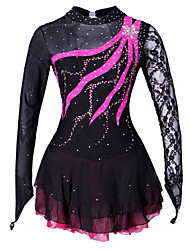 abordables -Robe de Patinage Artistique Femme / Fille Patinage Robes Noir Spandex, Dentelle Concurrence Tenue de Patinage Fait à la main Couleur Pleine / Mode Manches Longues Patinage sur glace / Patinage