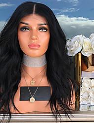 Недорогие -Синтетические кружевные передние парики Естественные кудри Kardashian Стиль С пушком Лента спереди Парик Черный Черный как смоль Искусственные волосы 24 дюймовый Жен. Жаропрочная Черный Парик Длинные