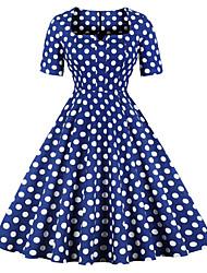 baratos -Mulheres Algodão balanço Vestido Decote Quadrado Médio