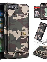 Недорогие -Кейс для Назначение Apple iPhone 8 / iPhone 8 Plus / iPhone 7 Кошелек / Бумажник для карт / Защита от удара Кейс на заднюю панель Камуфляж Мягкий ТПУ для iPhone 8 Pluss / iPhone 8 / iPhone 7 Plus