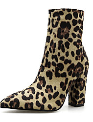 Недорогие -Жен. Замша Наступила зима Английский Ботинки На толстом каблуке Заостренный носок Сапоги до середины икры Животные принты Цвет-леопард / Для вечеринки / ужина / Леопард