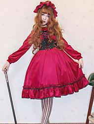 billiga -Söt Lolita Casual Lolita Klänning Gothic Style Söt Lolita Dam Klänningar Cosplay Röd Juliet Långärmad Knälång Kostymer