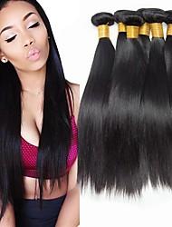 tanie -6 pakietów Włosy indyjskie Prosta Włosy naturalne Fale w naturalnym kolorze Pakiet włosów Pakiet One Solution 8-28 in Kolor naturalny Ludzkie włosy wyplata Jedwabisty Gładki Damskie Ludzkich włosów