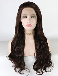 Недорогие -Синтетические кружевные передние парики Жен. Свободные волны / Loose Curl Коричневый Свободная часть 180% Человека Плотность волос Искусственные волосы 18-26 дюймовый / Лента спереди / Жаропрочная