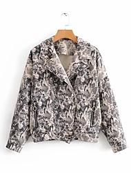 baratos -jaqueta de couro do plutônio das mulheres - leopardo / sólido colorido peter pan collar