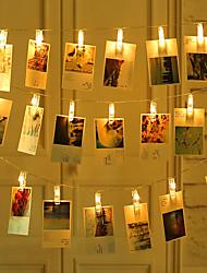 Недорогие -ZDM 2 м 20 шт. светодиодные фонари для фото строк 20 фото клипов с питанием от батареи или USB-интерфейс фея мерцают светомшанги фото карты и произведения искусства теплый белый