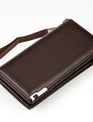 Недорогие -мужские сумки nappa кожаная муфта молния черный / кофе