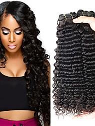Χαμηλού Κόστους -4 πακέτα Περουβιανή Deep Curly Χωρίς επεξεργασία / Φυσικά μαλλιά Δώρα / Κοστούμια Cosplay / Υφάνσεις ανθρώπινα μαλλιών 8-28 inch Φυσικό Χρώμα Υφάνσεις ανθρώπινα μαλλιών Μηχανοποίητο
