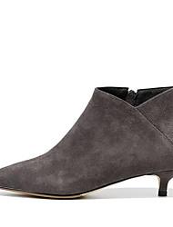 Недорогие -Жен. Ботильоны Наппа Leather Наступила зима Винтаж Ботинки На шпильке Ботинки Черный / Серый / Верблюжий