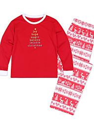 abordables -Adultes / Enfants / Bébé Regard de la famille Basique Noël / Quotidien Géométrique Manches Longues Normal Polyester Pull & Cardigan Vert