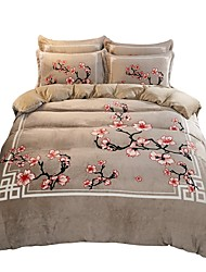 abordables -Ensembles housse de couette Style Chinois Polyester Imprimé 4 PiècesBedding Sets / 1 pièces (1 housse de couette, 1 drap, 2 housses d'oreiller)