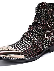 abordables -Homme Fashion Boots Cuir Nappa Hiver Décontracté / British Bottes Garder au chaud Bottes Mi-mollet Arc-en-ciel / Soirée & Evénement