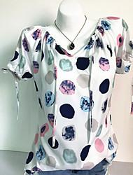 billige -Dame - Prikker Trykt mønster Basale T-shirt