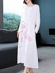 Недорогие -Жен. Шинуазери (китайский стиль) Прямое Платье Средней длины