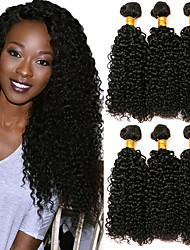 Недорогие -6 Связок Малазийские волосы Kinky Curly Натуральные волосы Человека ткет Волосы Уход за волосами Пучок волос 8-28 дюймовый Естественный цвет Ткет человеческих волос Машинное плетение
