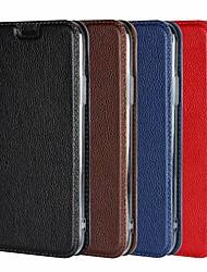 Недорогие -Кейс для Назначение Apple iPhone 8 Plus / iPhone XS / iPhone XR Кошелек / Защита от удара / со стендом Чехол Однотонный Твердый Настоящая кожа для iPhone XS / iPhone XR / iPhone XS Max