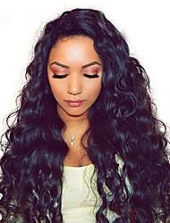 Недорогие -человеческие волосы Remy Полностью ленточные Парик Бразильские волосы Волнистые Loose Curl Черный Парик Ассиметричная стрижка 130% 150% 180% Плотность волос
